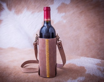 Handmade Leather Bottle Bag. Wine Bottle Holder. Wine Tote. Bottle Carrier