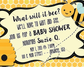 This listing is for a bumble bee invitation. Font can be customized to fit your occasion.