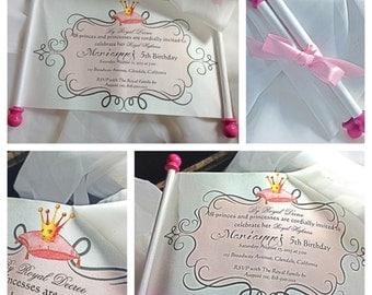 Princess Birthday Invitation --- Scroll Invitation -- Princess Scroll