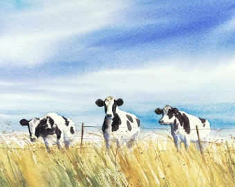 cow painting, cow wall art, cows, watercolor painting, Giclee print