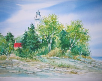 """lighthouse painting """"Cana Island"""" giclee print, watercolor 4 1/4 x 7 1/4"""