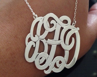 Silver Monogram Necklace, 1.25 inch Personalized Monogram choose any initial 925 sterling silver