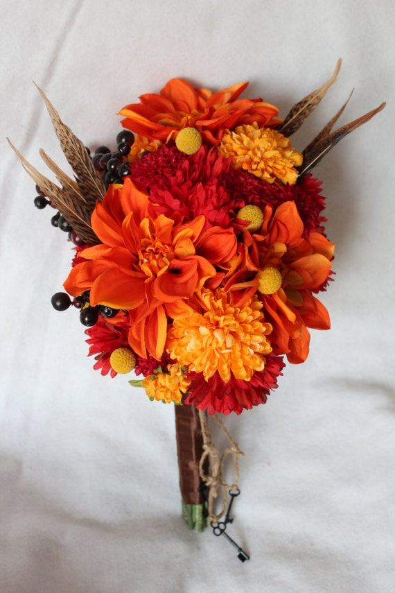 fall wedding bouquets fall silk flower bridal bouquet with dahlia berries pom pom 4020