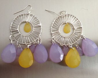 Lavender and yellow chandelier earrings.