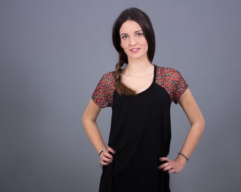 Black asymmetric dress-tunic with floral tulle