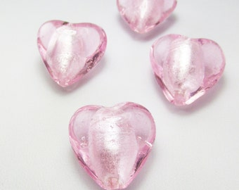 18mm Pink Puffy Heart loose beads Qty 2