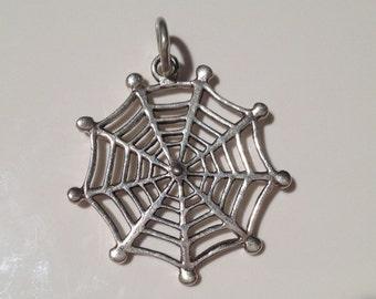Sterling Silver Pendant-Spider Web Pendant-Handmade Vintage Pendant-Ethnic-Hippy-Gypsy-LV31