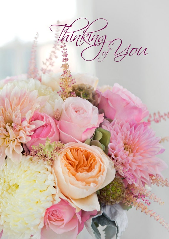 Thinking of You card with pink roses in gorgeous bouquet.