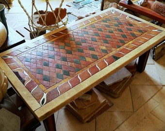table in terracotta and marble