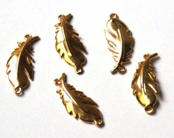 Gold plated feather charm / connector