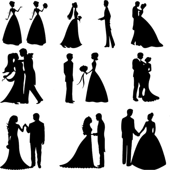 Wedding scene vector silhouette /EPSAI JPG Digital CLip Art