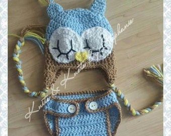 Baby Boy Owl Crochet out (made to order)