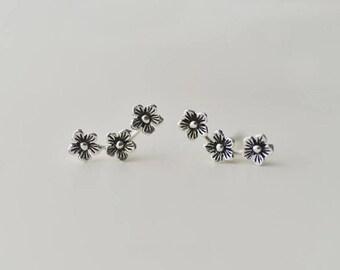 Earrings——925 Sterling Silver Three Flowers Earrings,925 Silver Retro Earring Studs