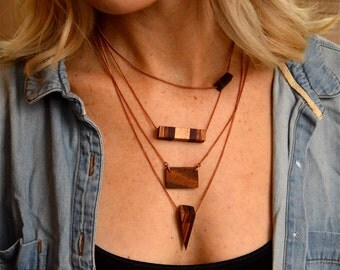 Wood Layering Necklace Set of 4 Layered Necklaces Set, Bar Necklace, Spike Necklace, Wooden Jewelry, Tiny Cube Necklace, Wood Bar, Geometric
