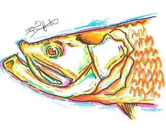 Tarpon Art Print - Neon Fish Series - David Danforth