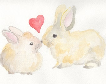 nursery wall art, nursery art, bunny watercolor, bunny print, heart print,  two bunnies, bunny love,  8 x 10,