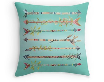 Arrows Pillow Cover, Blue, Bohemian, Nursery Decor, Boho Home Decor, Native American, Tribal Throw Pillow, Kids Room, Turquoise, Peter Pan