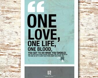 """U2- Lyric Quote 11x17"""""""