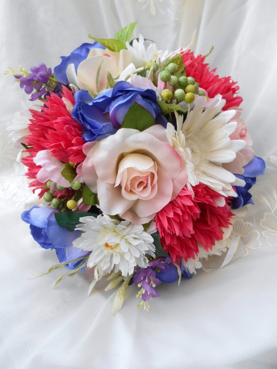 Spring colors sik Bride wedding bouquet pink royal blue and ivory 2 pc
