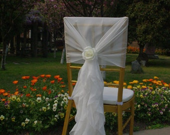 New Wedding Chiffon Chair Sash Wrap Sash Hood with artificial flower and ruffled tail