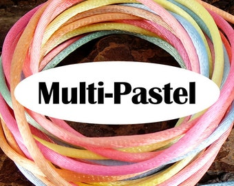 5 yards Multi-Pastel Rattail Satin Rayon Cord