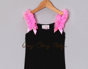 Black Tank Top with Hot Pink Ruffles