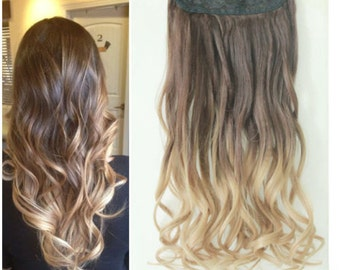 One Piece Clip in Dip dye Ombre Hair Extensions Synthetic Straight Curly Wavy (Col. chocolate brown to sandy blonde)