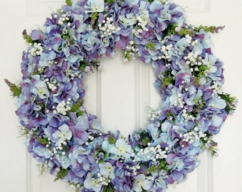Blue Lavender Hydrangea Wreath | Front Door Wreath | Spring Wreath | Summer Wreath | Wedding Wreath | Mother's Day Gift