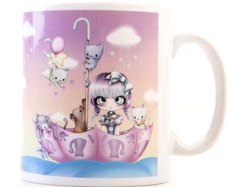 Cute Original Cat Chibi Art Mug Cup Anime