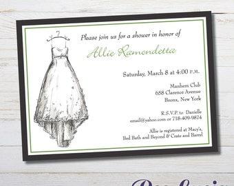 Bridal Shower invitation. Customizable 6.25 x 4.5  printed invites with envelopes.