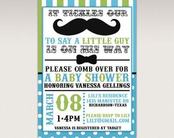 Little Man Mustache Bash Baby Shower printable invitation - Green and Blue Little Man Invitation #455