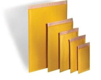 100 PCS #000 BUBBLE MAILERS // Kraft Self Seal 4 x8 Padded Envelopes