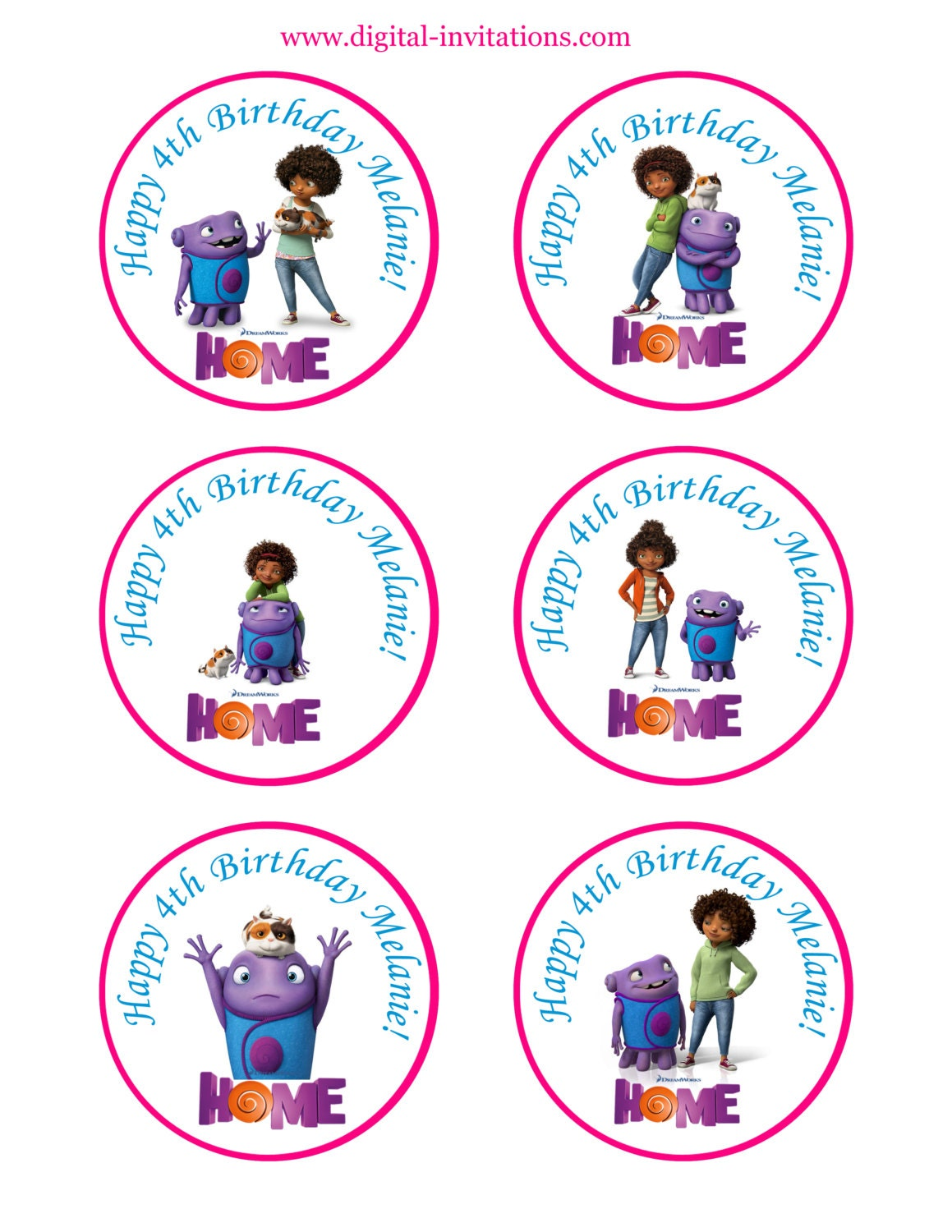 Home movie cupcake toppers dreamworks home movie home movie for New home cupcake decorations