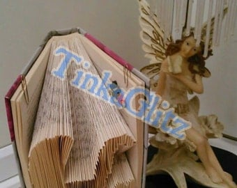 Book art - pram with a heart. Ideal for a new baby or baby shower gift.