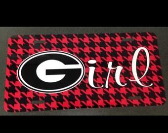 UGA Georgia bulldogs georgia girl metal car tag red black houndstooth university of georgia new