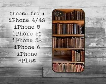 Vintage style bookshelf phone cover - iPhone 4/4S, iPhone 5/5S/5C, iPhone 6/6+, iPhone 6s/6s Plus case -bookshelf iPhone case