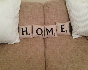 Scrabble tile decorative cushions, Any word, made to order
