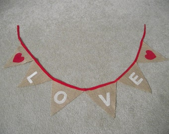 Hessian 'LOVE' bunting - 1.5m length