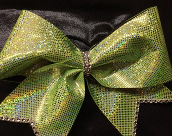 Sparkly Lime Green Cheer Bow