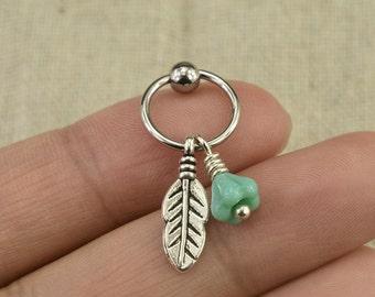 tragus earring,flower earring,cartilage earring,leaf earring,bff earring