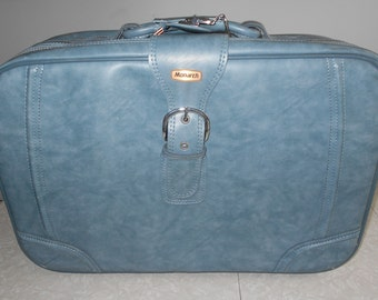 Vintage Suitcase/ Large Monarch Blue Suitcase with Soft Body/ Travel