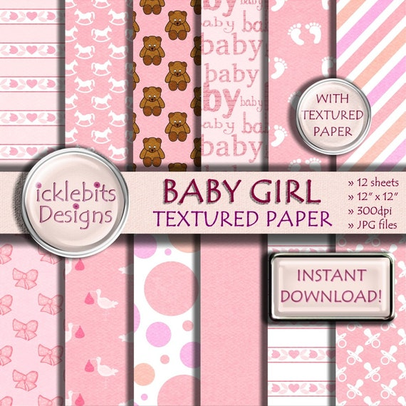 """Baby Girl TEXTURED Digital Paper Pack for Scrapbooking, """"BABY GIRL"""" pink, baby stork paper,polka dot, baby feet, high resolution,Design #41"""