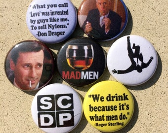 Mad Men Don Draper Rodger Sterling Buttons