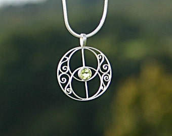 filigree pendant - avalon - chalice well - vica piscis - with beautiful peridot