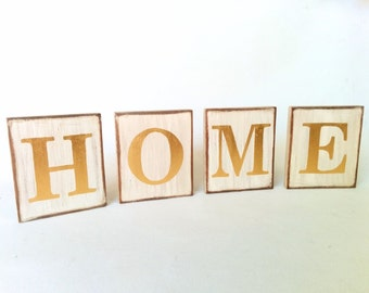 HOME letters on wood, Gilded Letters, Customized Letter Blocks