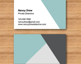 Instant Download - DIY Printable Double Sided Business Card Template - Angular Triangle