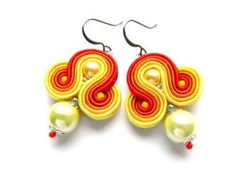 Orange small dangle earrings, multi-color earrings, yellow dangle earrings, soutache embroidered earrings, pearl earrings