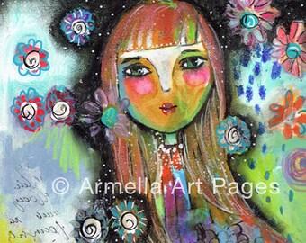 Peace She Felt Original mixed media Painting