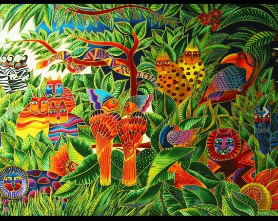 Items similar to oop green animal fabric panel secret for Kids jungle fabric