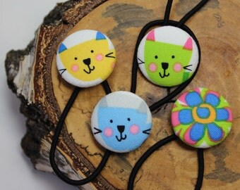 Cat Hair Accessories, Cat Button Covers, Kitty Hair Accessories, Flower Ponytail, Ponytail Holders, Covered Buttons, Button Covers